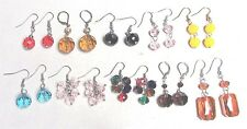 10 Pairs Vintage 70's Lot AB Aurora Borealis Glass Crystal Bead Pierced Earrings