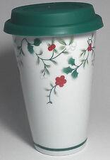 Christmas Travel Mug Pfaltzgraff White with Winter berries w/ green silicone lid
