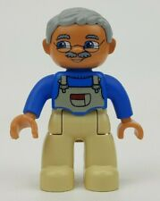 Duplo Figure Lego Ville Grandpa Gray Hair Glasses Mustache Overalls Replacement