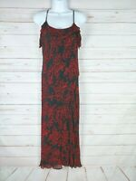 Paradise NY Beaded Black And Red Floral Slip Dress With Rubble Size Medium