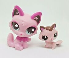 Littlest Pet Shop Pink Persian Cat Kitten Mommy & Baby  #2664 2665 Preowned LPS