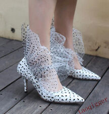 Womens Polka dot leather pointed toe fashion high heels catwalk Stiletto shoes