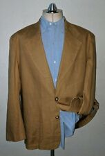 Unconstructed Tan Khaki 100% LINEN Blazer XL 46R Jacket Sport Coat patch pockets