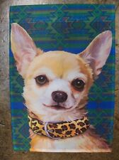 Fawn Chihuahua Dog Breed wearing Lepord Collar decorative Garden Flag