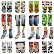 LOT OF 12 PAIRS NOVELTY CUTE  PHOTO PRINT WOMEN ANKLE SOCKS #LPT110
