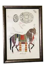 "Princely State of India Tonk Stamp Horse Oil Painting Framed w/ Glass 10"" X 14"""