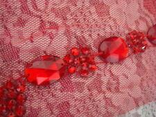 """1 pc v-neck red tulle rhinestone applique collar neckline  10""""W x 15""""L. #A7"""