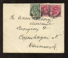 CEYLON KE7 1910 COVER 15c FRANKING to DENMARK