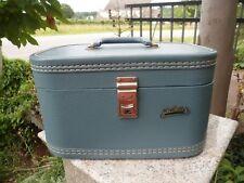 Vintage Du Barry Blue Mid Century Leather Luggage Train Hard Suitcase Case Lock