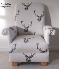 Fryetts Stag Fabric Child Chair Deer Natural Nursery Bedroom Charcoal Armchair