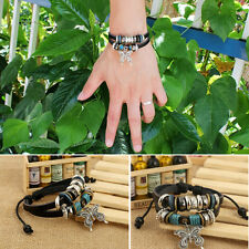 New Leather Butterfly Charm Handmade Wrap Fashion Bracelet Wristband Adjustable