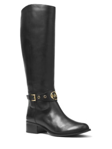 Michael Kors Women's Heather Tall Leather Black Boots Size 8.5