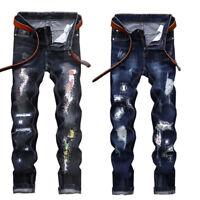 Fashion Men's Ripped Skinny Jeans Destroyed Frayed Slim Fit Denim Pant Zipper