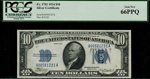 1934 $10 Silver Certificate FR-1701 - Graded PCGS 66PPQ - Gem New