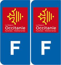 2 Autocollants plaque immatriculation auto : OC Occitanie - Identifiant France
