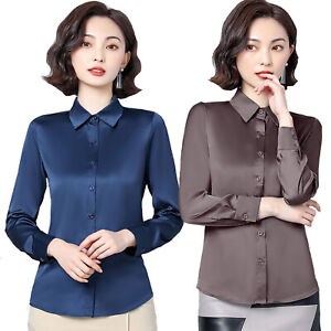 Lady Business Casual Long Sleeve Satin Silk Party Blouse Tops Button-Down Shirts