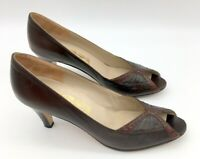 Salvatore FERRAGAMO Brown Peep Toe Ladies Shoes 8 AAA leather