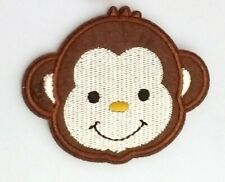 """Monkey Patch Embroidered Iron On Applique 2.76"""" X 2.09"""" Baby Animals"""