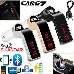 Wireless Bluetooth Transmitter In Car FM Radio LCD MP3 Player + USB TF AUX Slot