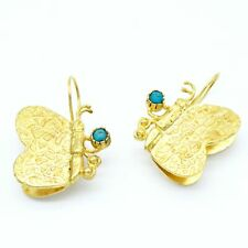 Aylas Turquoise Butterfly earring - 21ct Gold plated semi precious gemstone - Ha
