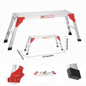 US Folding Aluminum Work Platform Working Bench Step Ladder 225LB Capacity X0M3