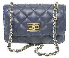 Chicca Borse borsa donna trapuntata pochette matelasse in vera pelle blu 1073
