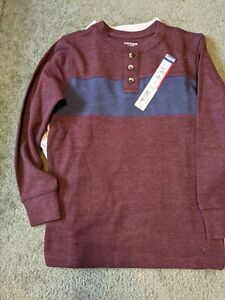 Brand New With Tags Arizona Jean Co. maroon/blue henley shirt Size M 10/12