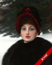 BEAUTIFUL WOMAN IN WINTER CLOTHES PORTRAIT PAINTING ART REAL CANVAS PRINT