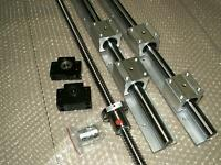 SBR16-400mm 2 linear rail+ballscrew RM1605-366mm+1 set BK/BF12 end bearing CNC