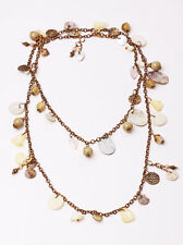 STUNNING LONG CHAIN 'MERMAID' NECKLACE SASSY BROWN BEADS NACRE CHARMS (ZX27)