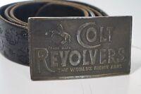Colt Revolvers Guns Firearms Western Vintage Belt Buckle and Black Leather Belt
