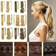 100% Natural Clip In Pony Tail Hair Extension Wrap Around Ponytail Barbie Blonde