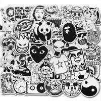 50Pcs Black White Vinyl Skateboard Stickers Luggage Guitar Car Bomb Decals Pack