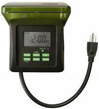 7 Day Digital Plug-In Timer 120 Volt 2 Grounded Outlets Outdoor Pool Pump Switch