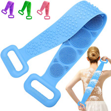 UK Body Cleaning Double Sided Back Scrubber Bath Shower Silicone Spa Brush Tool
