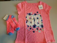 Gymboree Gymgo 10-12 NWT Pink Shirt And Pink Socks Glitter Floral Activewear
