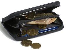 Geldbeutel aus Leder für Damen und Herren Geldbörse klein schwarz Portmonee NEU