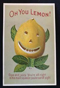 Oh You Lemon~Antique Postcard~Anthropomorphic Comic Series 22 Juicy Face-h593