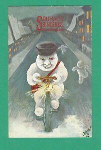 1909 TUCK WALLY FIALKOWSKA NEW YEAR POSTCARD SNOWMAN-NIGHT WATCHMAN BICYCLE