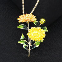 Betsey Johnson Chrysanthemum Flower Pendant Chain Necklace/Brooch Pin Gift