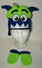 Cute Green Toothed Monster Winter Cap Glove New Toddler Infant Mitten Hat Set
