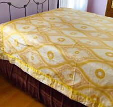 Anthropologie Medallion Wave Queen Duvet cover yellow gold white Nwot