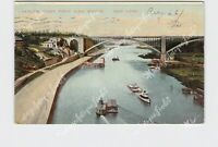 PPC POSTCARD NEW YORK CITY HARLEM RIVER FROM HIGH BRIDGE BOATS ON WATER
