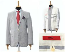 Mens HUGO BOSS Blazer Coat Jacket Cotton Striped Grey Size 46 56