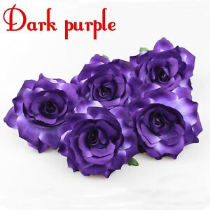 "5/100Pcs Artificial Flower 4"" Silk Rose Head For Wedding Home Decor Fake flower"