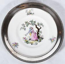 "Vintage Royal Worcester Wateau Lovers Bone China Plate w/ Sterling Rim 7-1/2"""