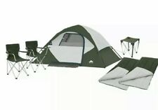6-PIECE! CAMPING COMBO 4-Person Instant Tent- 2 Chairs- 2 Sleep Bags- Table NEW!
