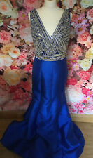Stunning Peacock Blue Full Length Beaded Gown Prom Ball Occasion Dress 12