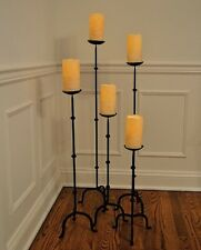 "5 pc set FLOOR STAND CANDLE STICK PILLAR HOLDERS BLACK METAL 4"" D PLATE"