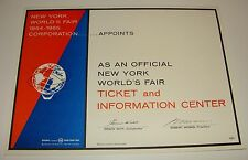 1964 1965 NEW YORK WORLD'S FAIR - OFFICIAL TICKET INFORMATION CENTER SIGN - NYWF